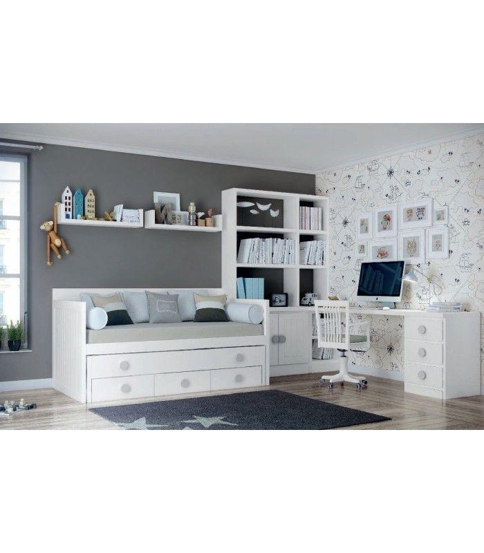 Dormitorio juvenil blanco 14 | Dormitorios juveniles, Librerías y ...