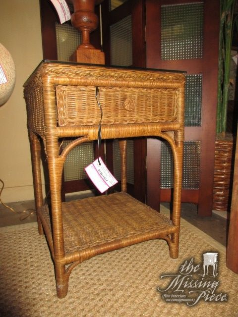 Small Wicker End Table In A Medium Finish With Protective Glass Top. This End  Table Has One Drawer. X X At Posting, We Have Two Of These.