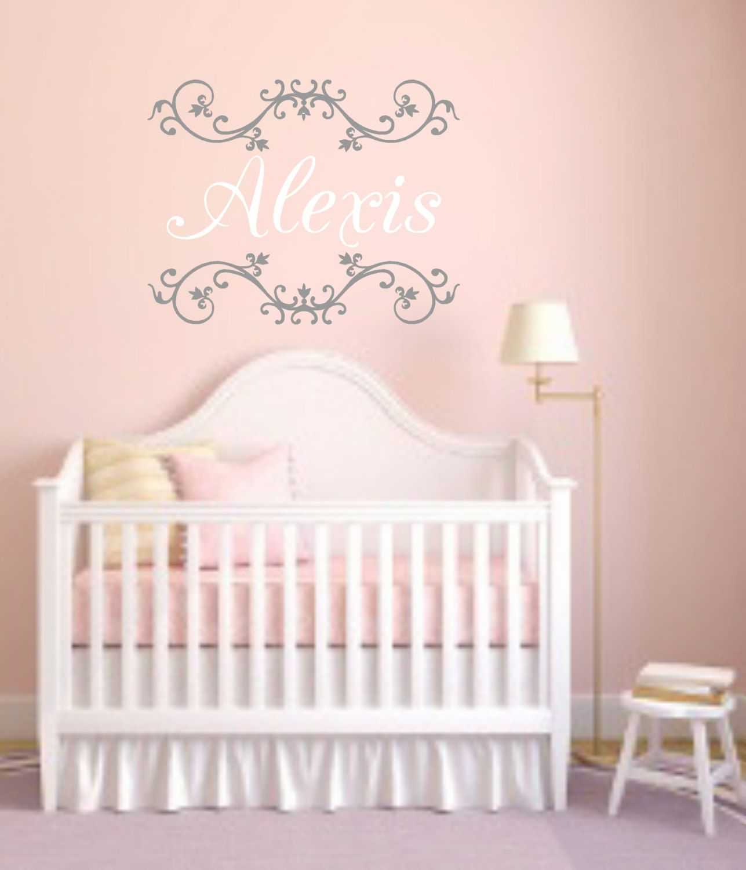 Shabby personalized namevinyl wall decalcustom chic girls bedroom