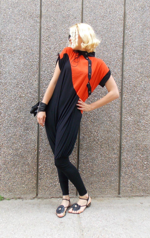 2918ff8b4a Now selling  Black and Orange XXL Jumpsuit   Loose Extravagant Jumpsuit    Asymmetric Plus Size