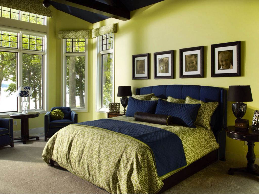 Master bedroom yellow walls  Toned down yellow green walls heighten the effect of the natural