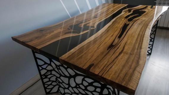 Live edge walnut river table with black epoxy | Live edge ...