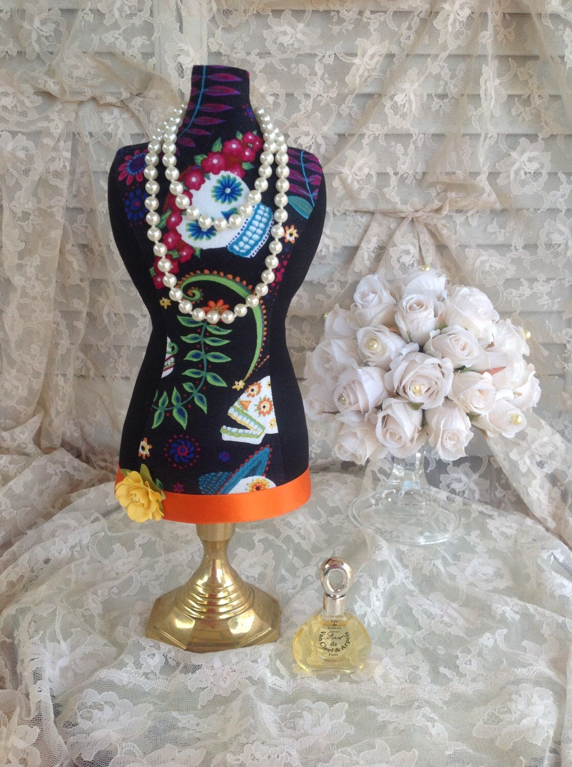 SALE Sugar Skull Mannequin Stand Mini Dress Form Jewelry Stand