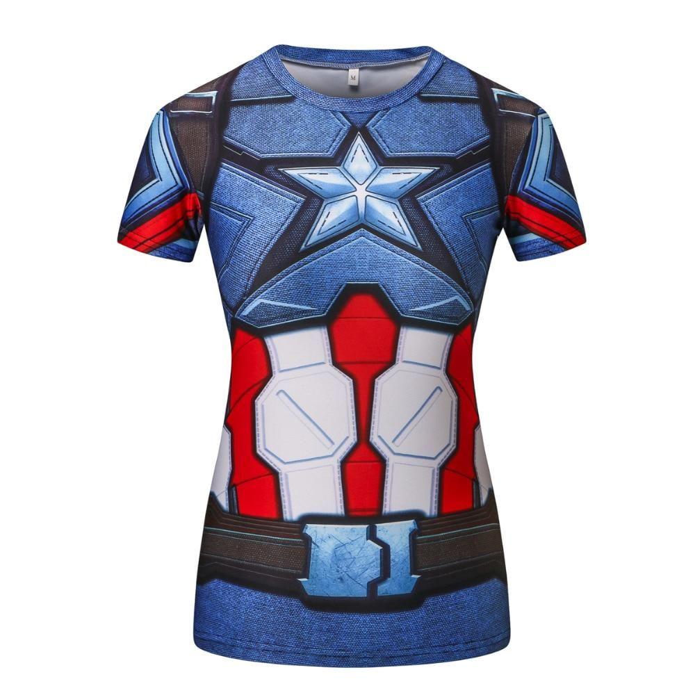 a5751689614 Ladies Comics Marvel Superman Batman  Wonder Women s Compression Shirts  Compression T Shirt Female Fitness Tights Shirts