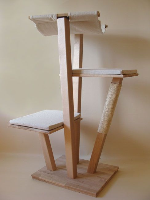 Arbre chat design en bois massif mod le 39 balsamine 39 cat tree cattery - Arbre a chat bois naturel ...