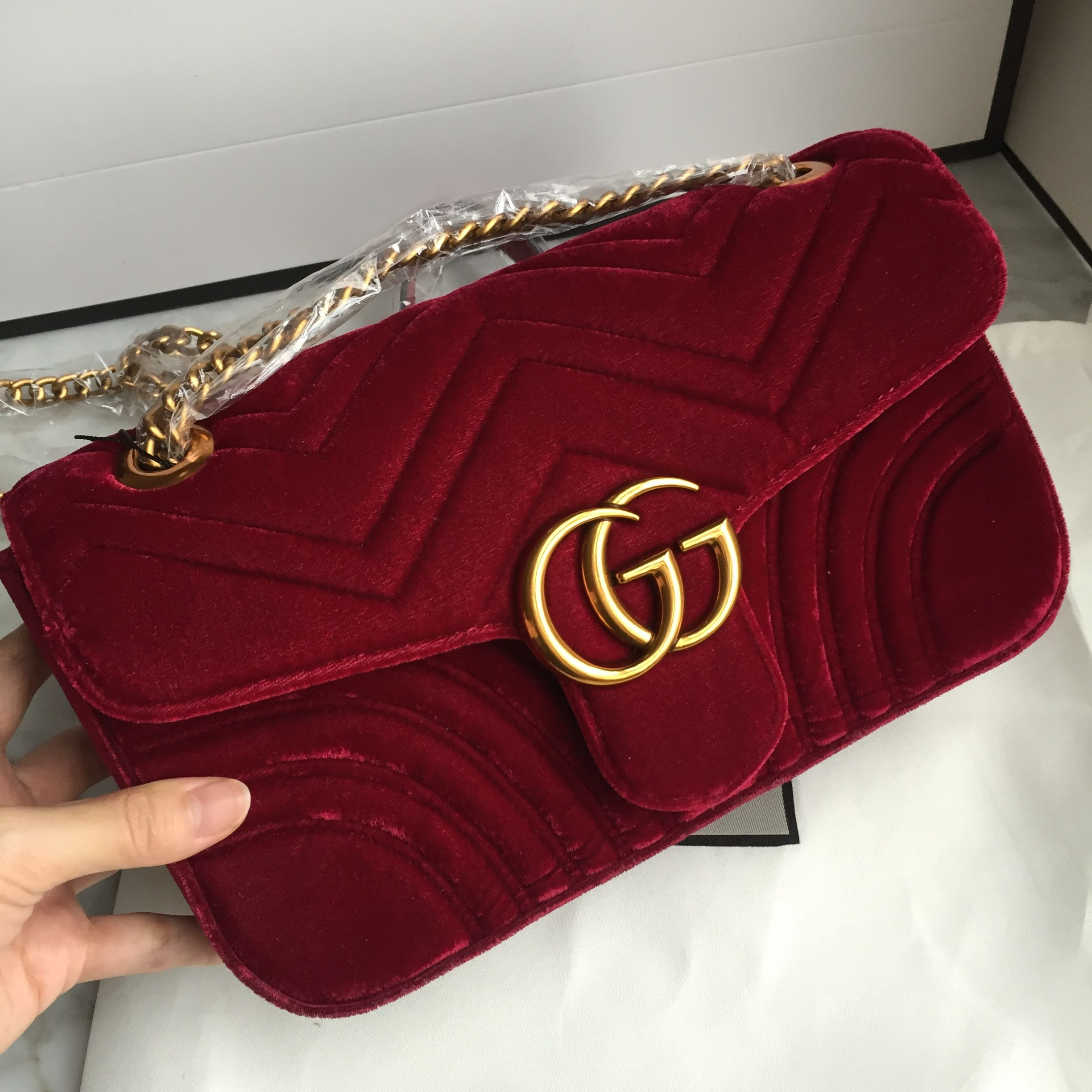 2758e586479c Gucci marmont chain bag velvet wine red color | My Style in 2019 ...