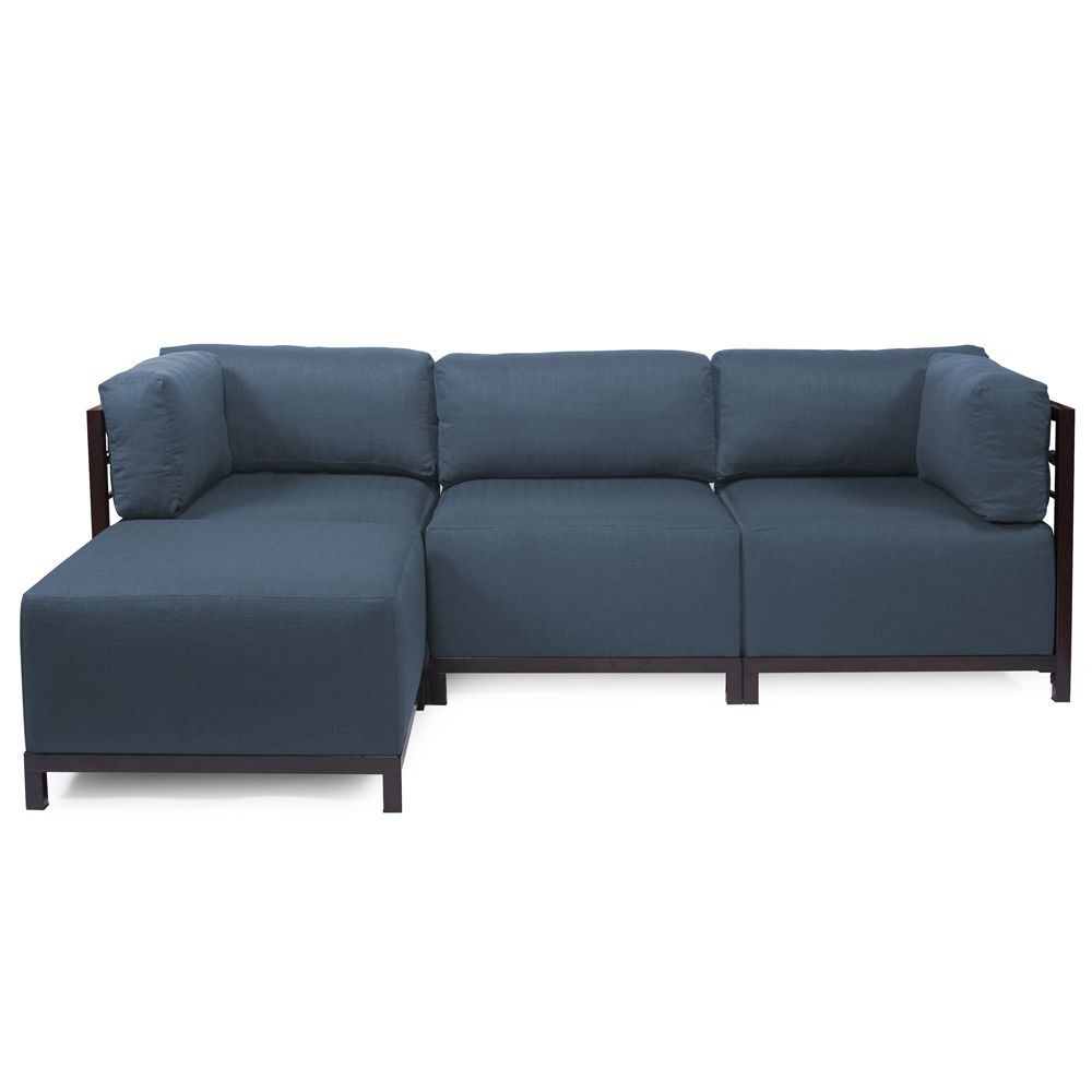 Howard Elliott Sterling Indigo Axis Corner Chair - Mahogany Frame