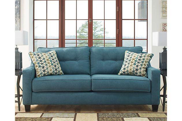 Shayla Sofa By Ashley Homestore Teal Polyester 100 Queen Sofa Sleeper Furniture Sofa
