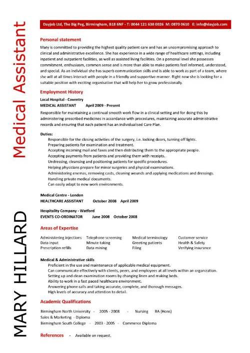 Medical Assistant resume samples, template, examples, CV, cover - Examples Of Resumes For Medical Assistants