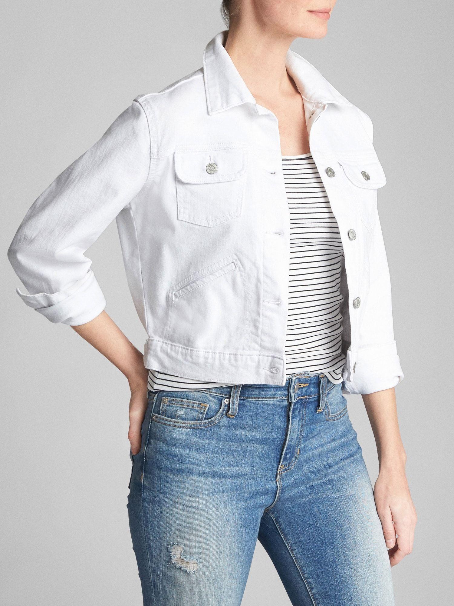 Crop White Denim Jacket Gap Factory Denim Fashion Women Jacket Outfit Women Casual Style Outfits [ 2000 x 1500 Pixel ]