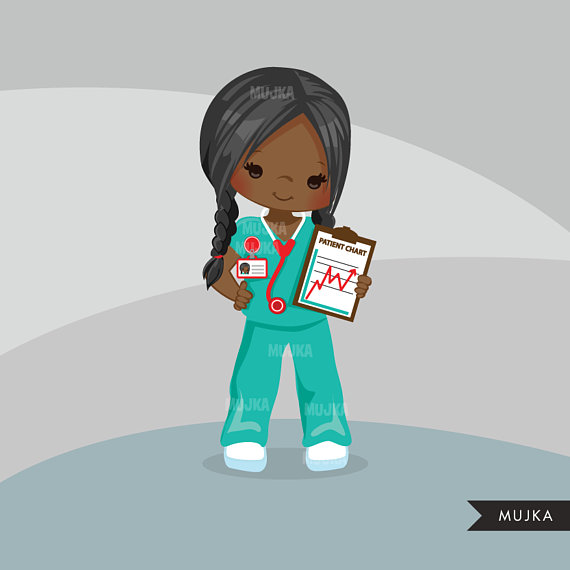 Nurse Clipart Little Girl Graphics Medical Hospital Etsy In 2021 Nurse Cartoon Clip Art Nurse