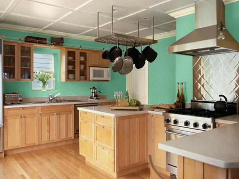 Awesome A Little Too Seafoam, But Finally Some Green Walls With Birch Cabinets! Kitchen  Paint ColorsBest ...