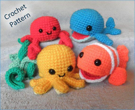 Free Crochet Amigurumi Whale Patterns : Underwater friends sea creatures or mobile pdf crochet pattern