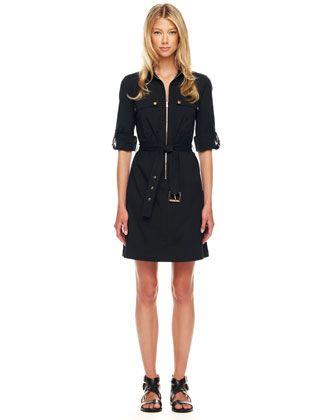 6b8455b0319 Michael Kors Belted Zip Shirtdress | One piece | Belted shirt dress ...