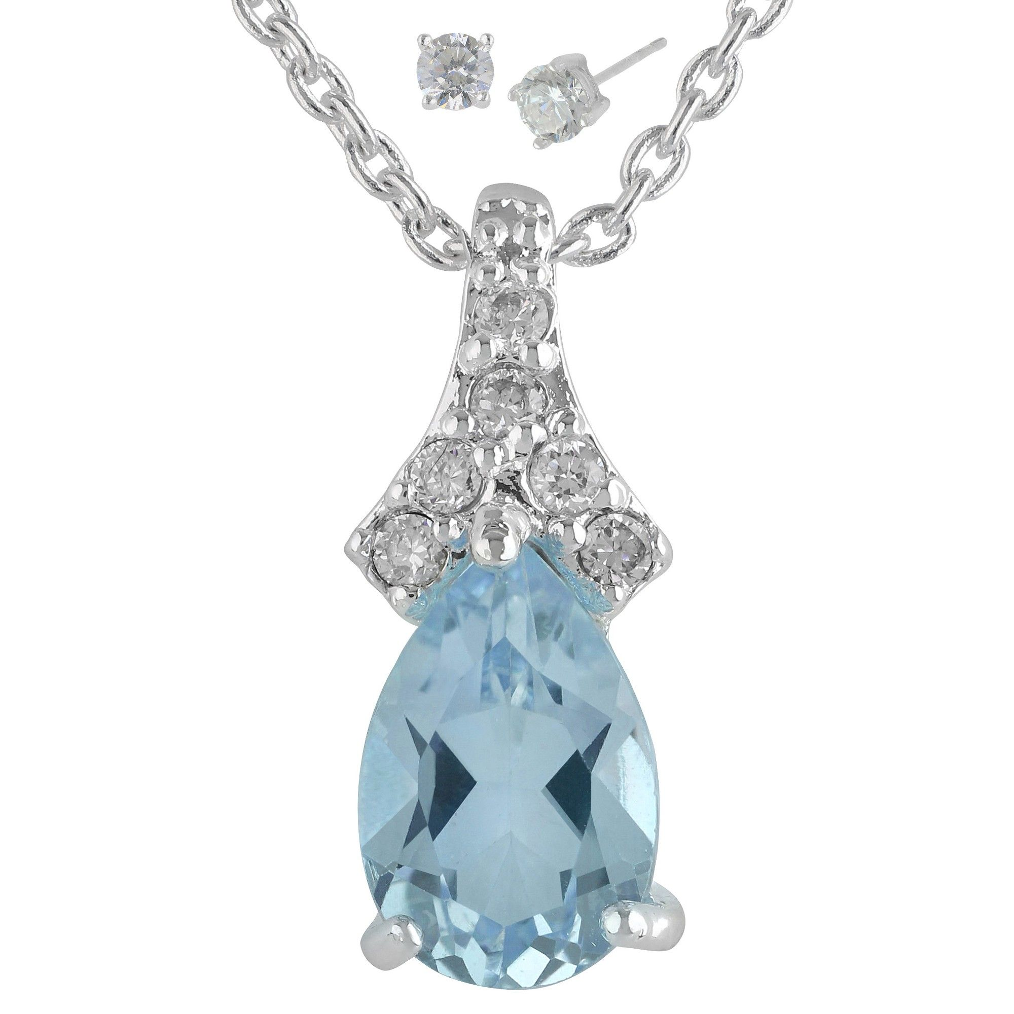 Womens silver plated pendant necklace with pear topaz earring womens silver plated pendant necklace with pear topaz earring silverblue 18 aloadofball Choice Image