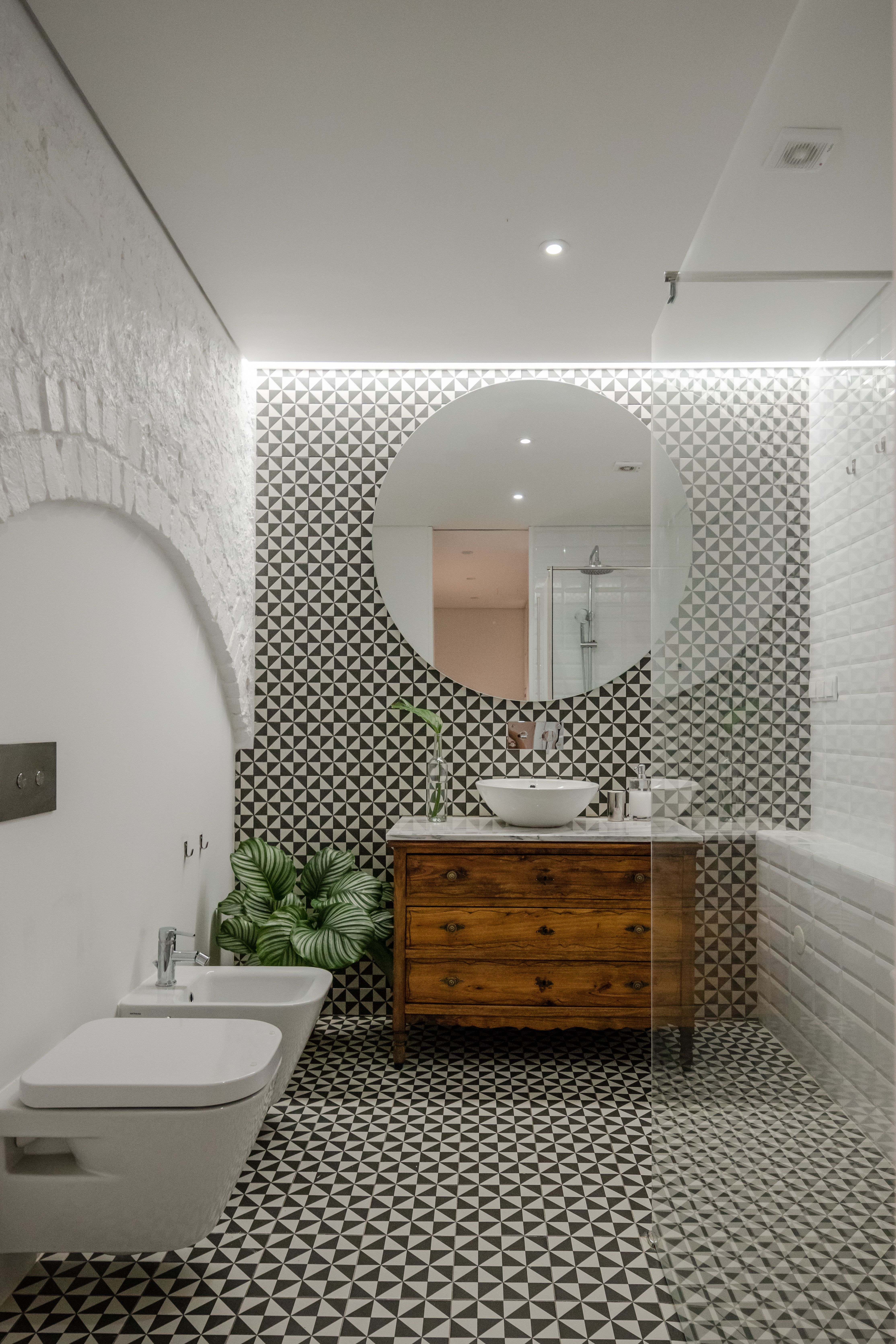 a carpentry workshop in portugal is reimagined as a minimalist home rh pinterest com Repurposed Floor Mirror Modge Podge Ceramic Tiles