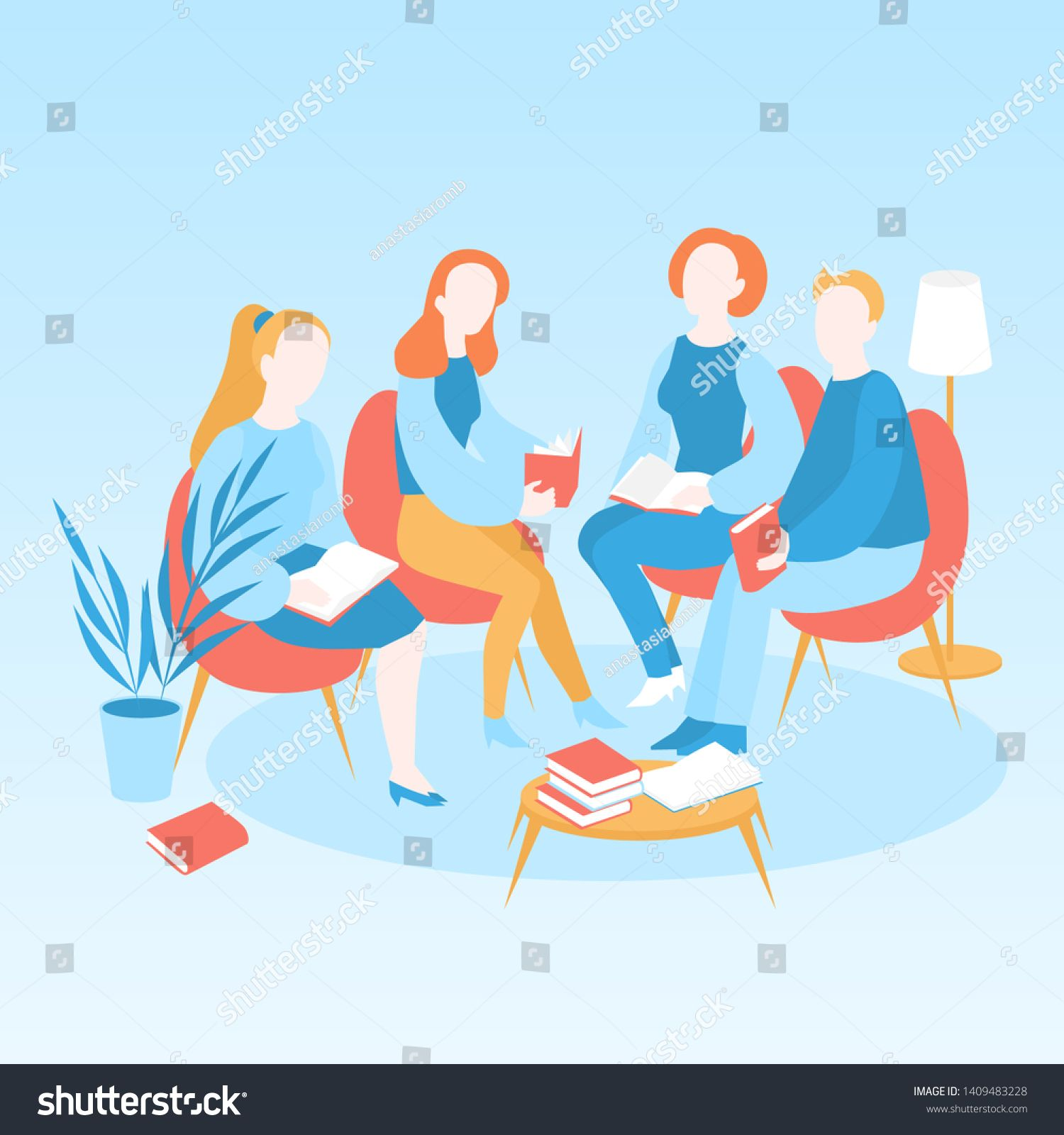 Book club meeting, Vector illustration of library