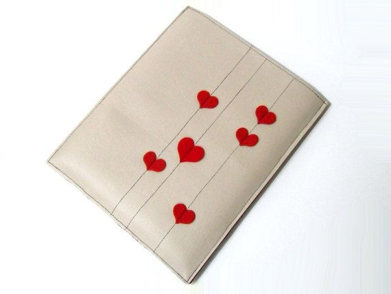 Synthetic Leather iPad case  Red Hearts by treasureforest6 on Etsy, $35.00