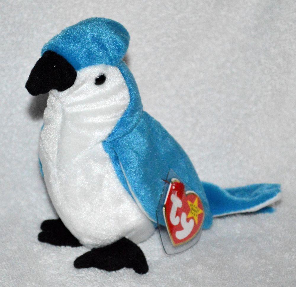 TY Beanie Babies Rare Rocket the BlueJay Bird Retired