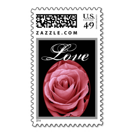 Soft Red Wedding Love Rose In Oval Frame Postage Stamps Wedding