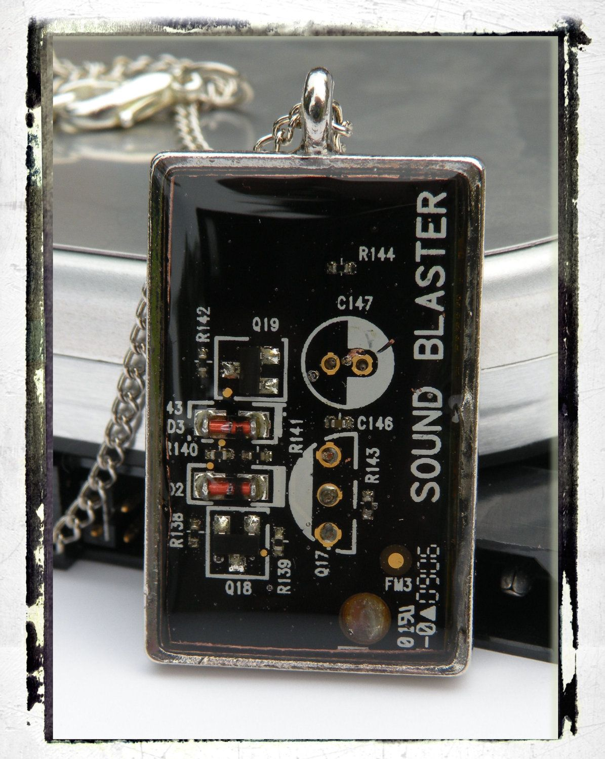 Black Rectangle, Sound Card, Circuit Board, Necklace