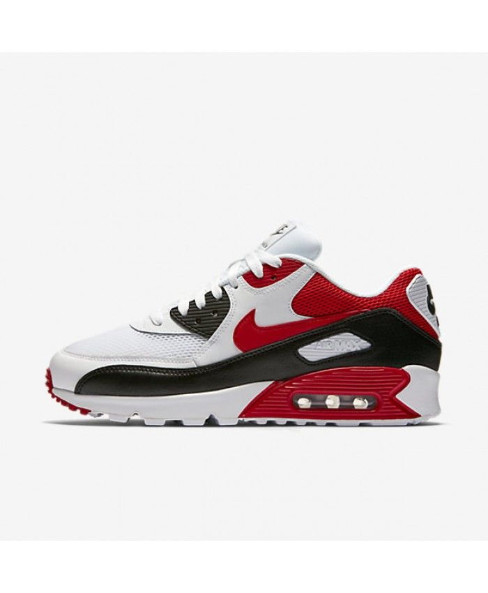 Cheap Nike Air Max 90 Essential White Black Wolf Grey University Red