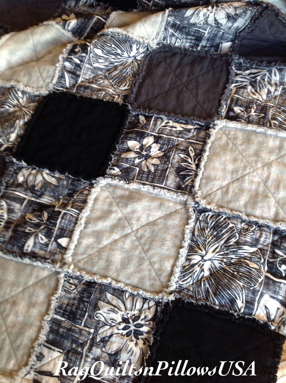 Black,Charcoal,Grey Rag Quilt,Homemade Country Throw,Handmade ... : charcoal grey quilt - Adamdwight.com