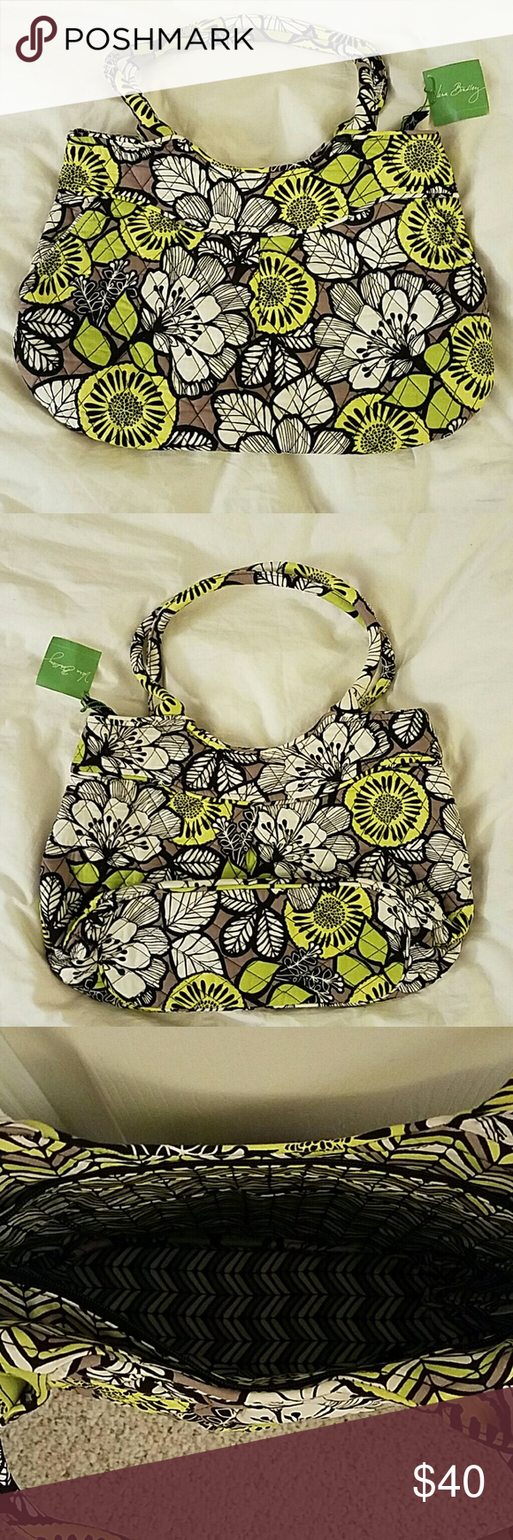 NWT Vera Bradley Pleated Shoulder Bag in Citron ?? NWT VB Pleated Shoulder Bag in Citron ??. Great color for the coming spring. Green intermixed with brown and black among the many white flowers on this bag ?? Vera Bradley Bags Shoulder Bags