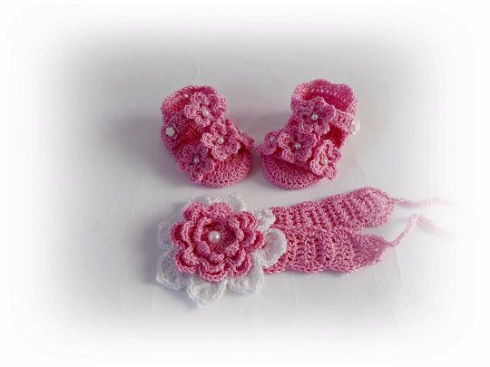 3e19e39076638 Crochet baby sandals, Set shoes headband, Summer set, Pink sandals ...