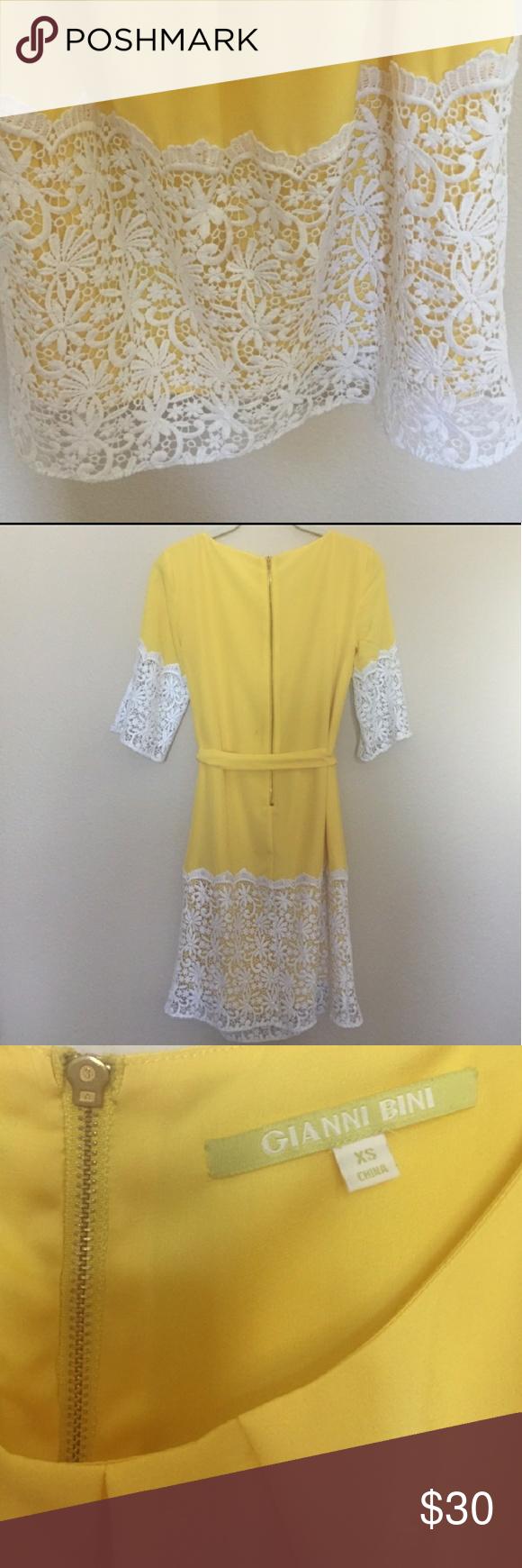 Gianni bini yellow lace dress xs lace detail lace dress and detail