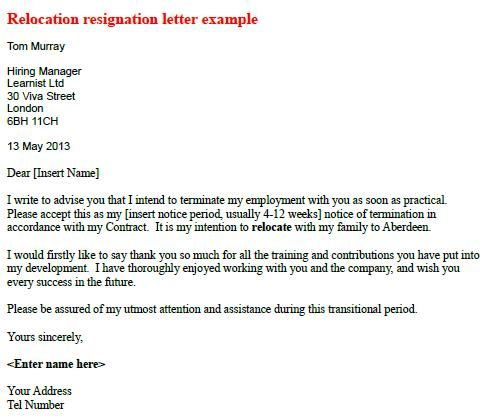 Relocate Relocation Resignation Letter | Michigan Bound