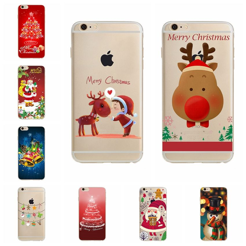 fashion cute christmas case cover for apple iphone 7 case silicone christmas tree bell capafor phone