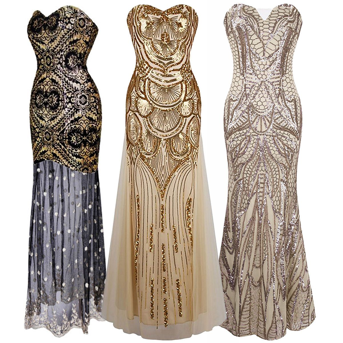 1920\'s Flapper Dress Vintage Great Gatsby Charleston Sequin Party ...