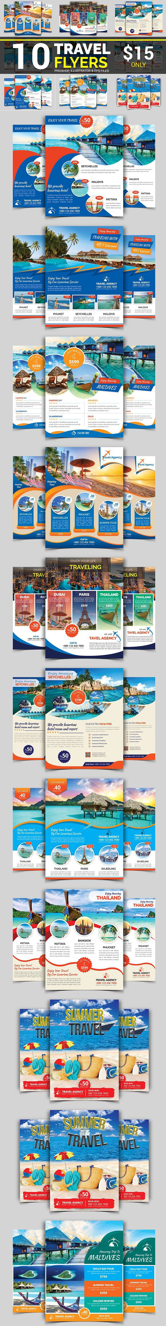 10 Travel Flyers Bundle 90 OFF Travel and tours agency