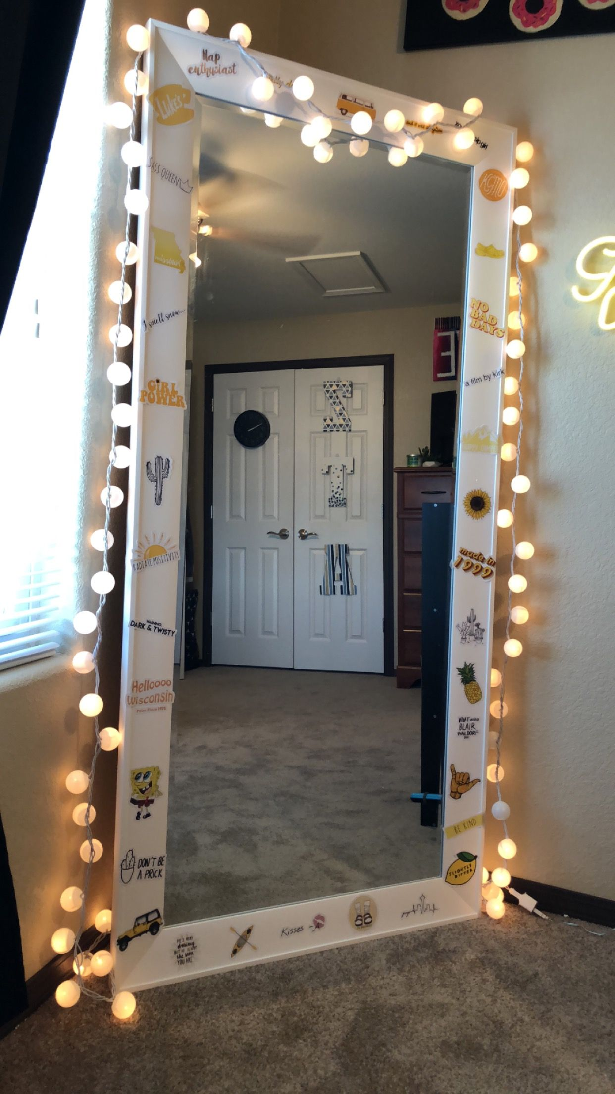stickers on full length mirror💛 | Fairy lights bedroom ... on Mirrors For Teenage Bedroom  id=79972
