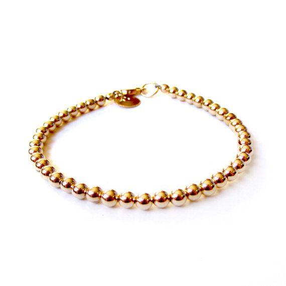 8c4d3983476 14K Gold Fill Bead Bracelet - 4mm Beads - Everyday Wear - 14K Yellow Gold  Ball Bracelet