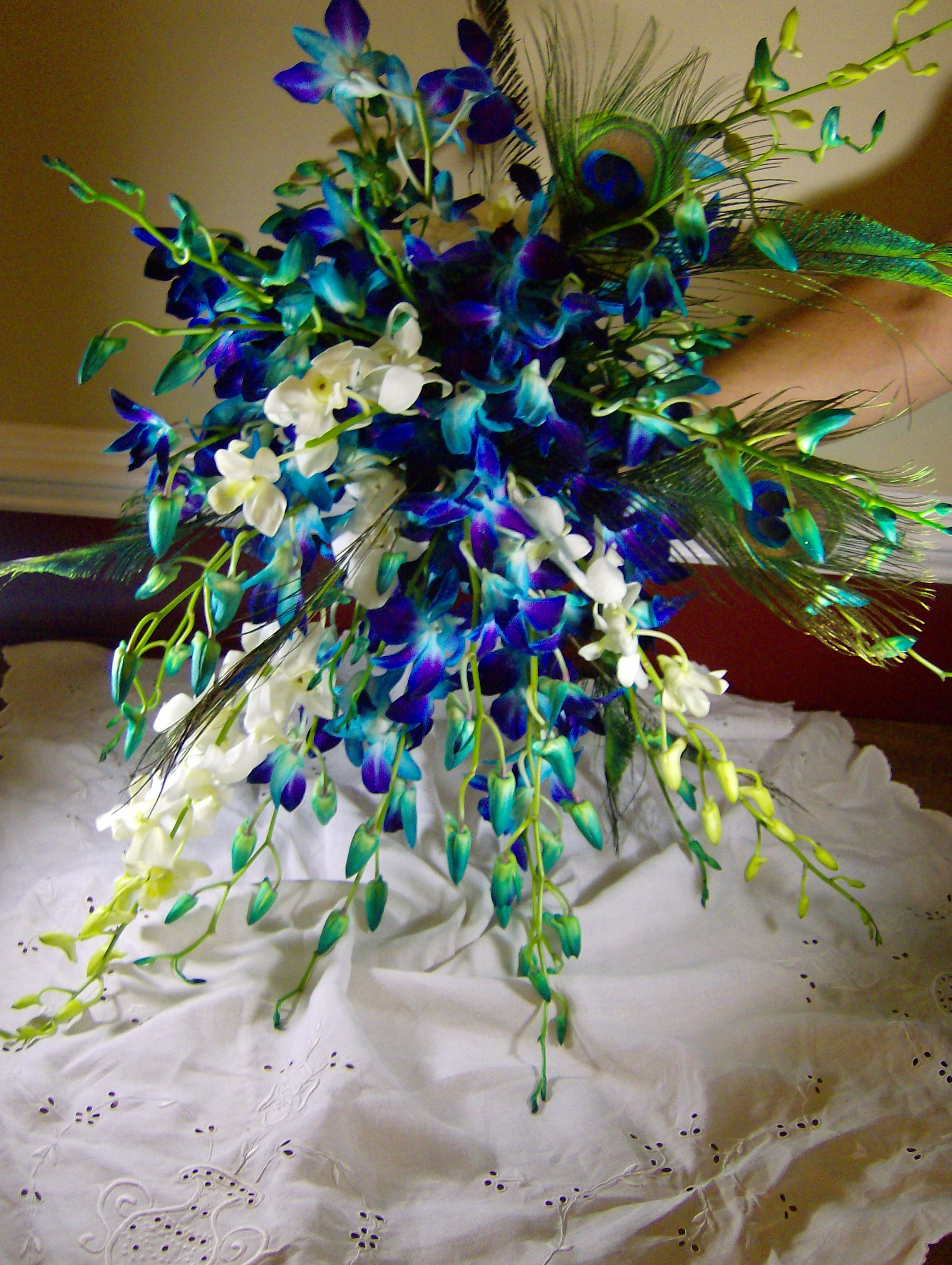 Blue and white dendrobium orchids blue wedding palette mews