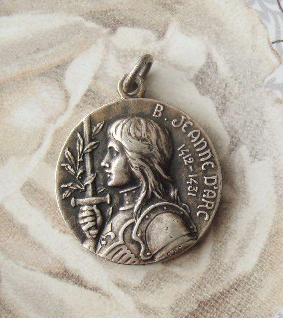 antique religious medal st joan of arc pinterest saints and angel. Black Bedroom Furniture Sets. Home Design Ideas
