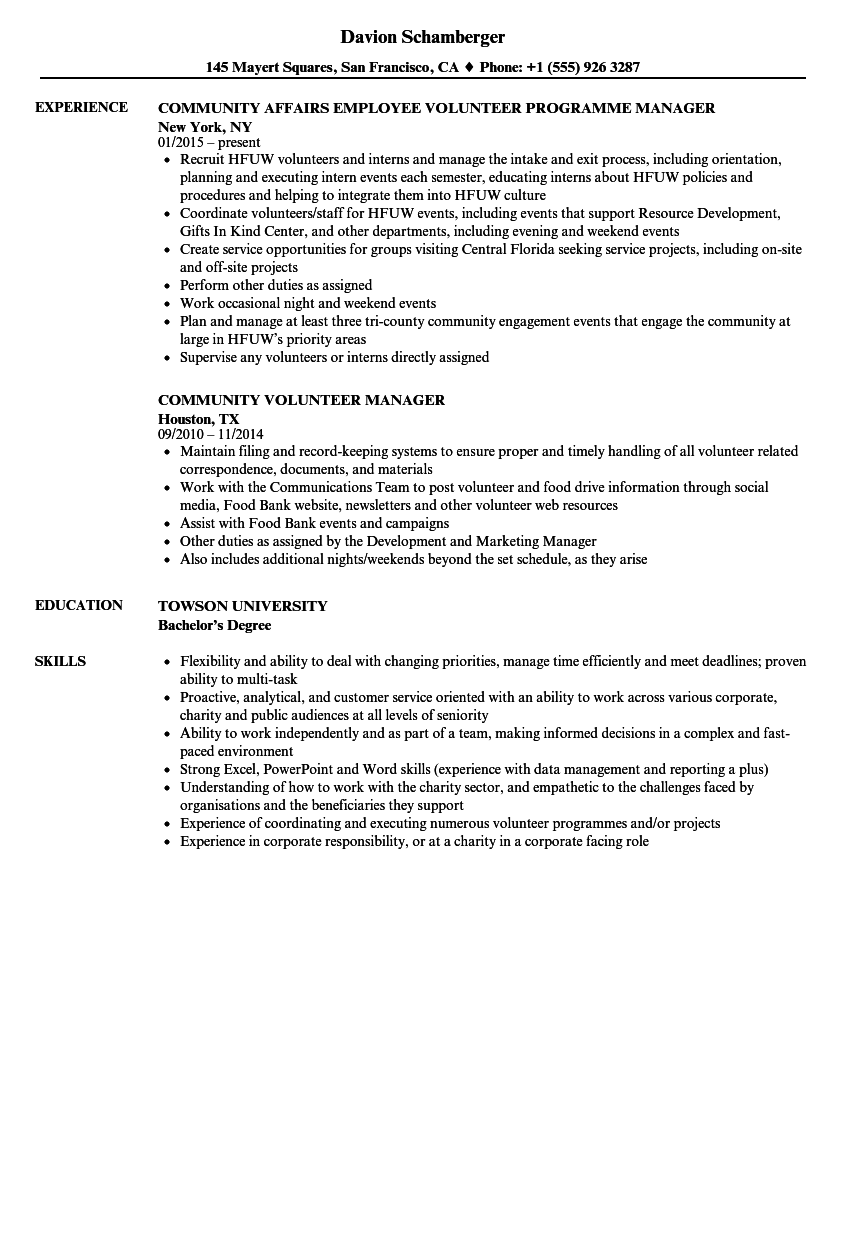 Resume Templates Volunteer Resume Templates nel 2020