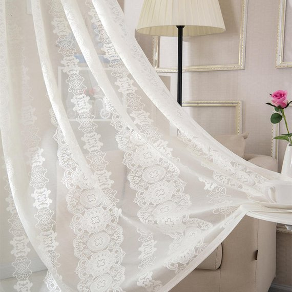 110 Width White Lace Jacquard Curtain Fabric Russian Romantic