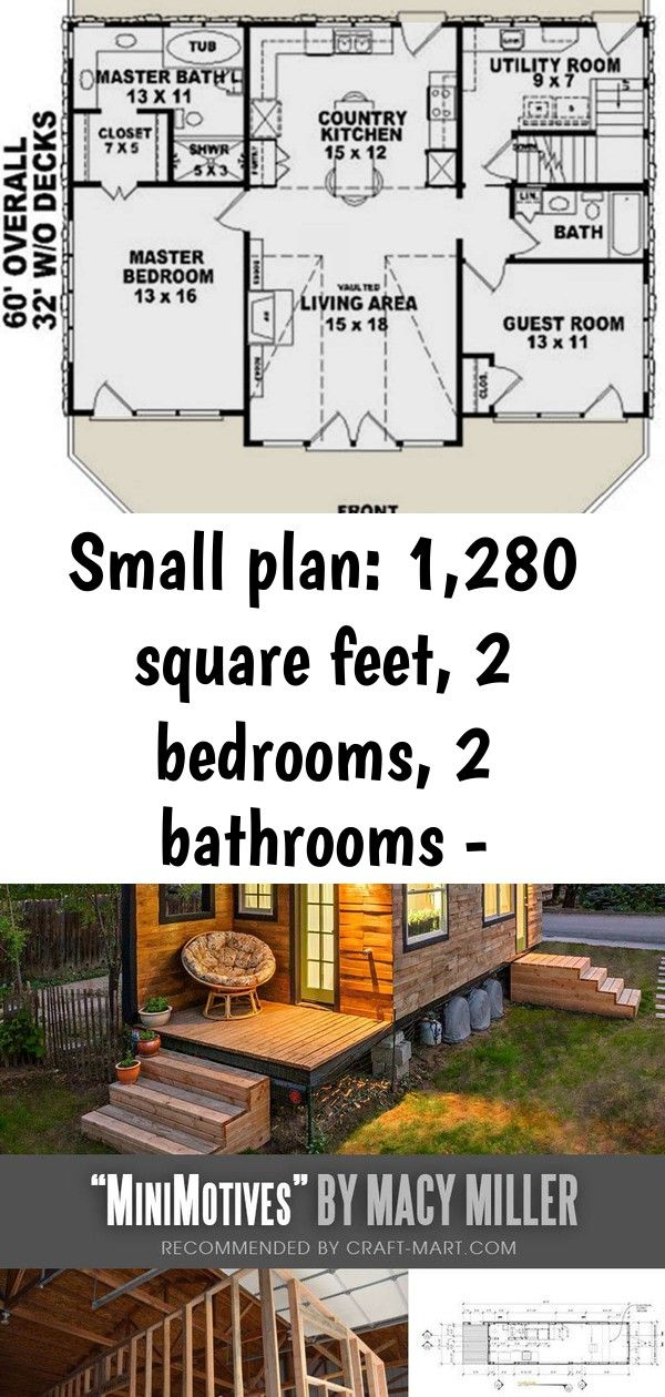 Small plan: 1,280 square feet, 2 bedrooms, 2 bathrooms - 053-00214 1 #tinyhousebathroom