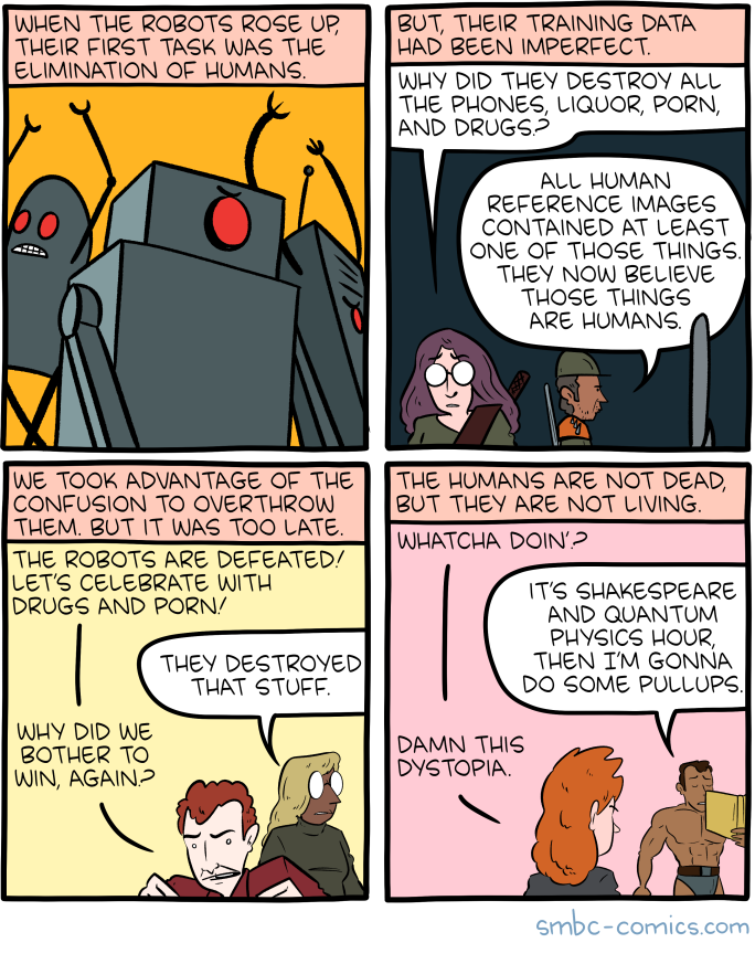 Saturday Morning Breakfast Cereal Training Click Here To Go See The Bonus Panel Hovertext This Comic Was Funny Comics Funny Relatable Memes Smbc Comics