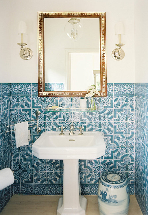 Blue White Portuguese Tiles Small Bathroom Remodel Mediterranean Bathroom Small Bathroom