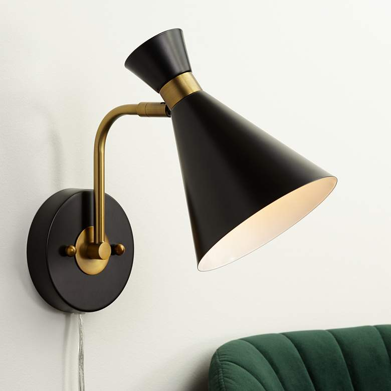 Venice Matte Black Modern Cone Wall Lamp 55k59 Lamps Plus In 2020 Wall Lamp Modern Wall Lamp Mid Century Modern Wall Lamp