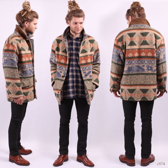 Mens Navajo Coat Vintage Tribal Insulated Blazer by