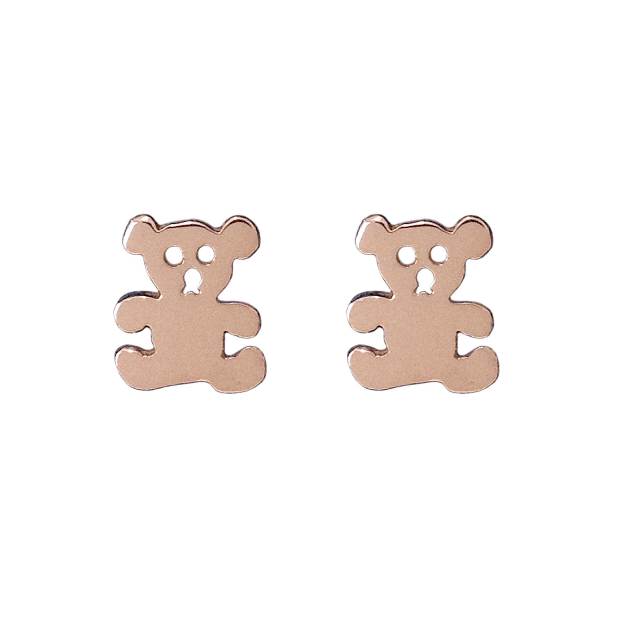 14K Gold Teddy Bear Stud Earrings