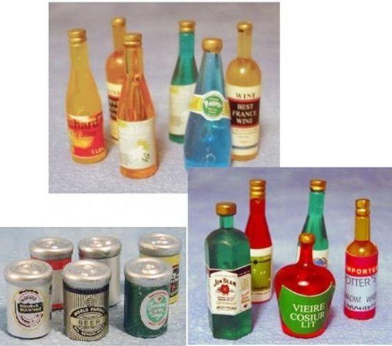 17 tlg Set Flaschen + Dosen Wein Bier Wasser Bar Puppenstube