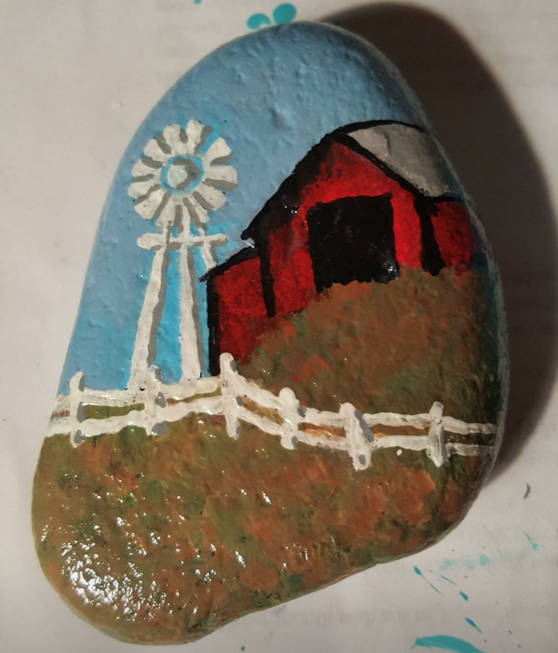 Farm Barn Windmill Painted Rock Rock Crafts Rock Painting Designs Stone Crafts