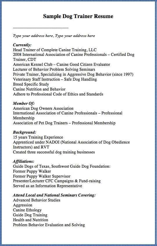 Sample Dog Trainer Resume