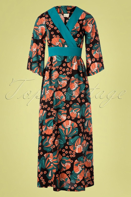 70s Festival Feelings Floral Maxi Dress In Black [ 1530 x 1020 Pixel ]